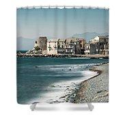 Village And Shingle Beach Of Erbalunga In Corsica Shower Curtain