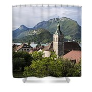 Village Of Talloires On The Banks Of Lake Annecy Shower Curtain
