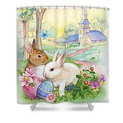 Vintage Easter Bunnies Shower Curtain