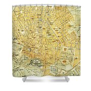 Vintage Map Of Athens Greece - 1894 Shower Curtain