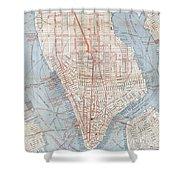 Vintage Map Of Lower Manhattan  Shower Curtain