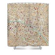 Vintage Map Of Paris  Shower Curtain