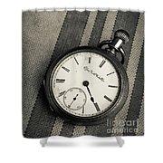 Vintage Pocket Watch Shower Curtain