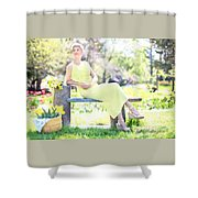 Vintage Val Spring Tulips Shower Curtain