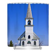 Vintage White Church With Bell  Shower Curtain