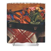 Violin Case And Flowers Shower Curtain