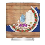 Virginia Rustic Map On Wood Shower Curtain