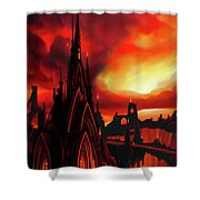 Volcano Castle Shower Curtain