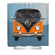 Volkswagen Type 2 - Black And Orange Volkswagen T 1 Samba Bus Over Blue Shower Curtain by Serge Averbukh