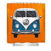 Volkswagen Type 2 - Blue And White Volkswagen T 1 Samba Bus Over Orange Canvas  Shower Curtain by Serge Averbukh