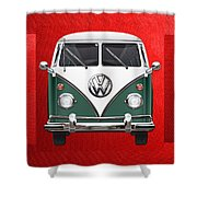 Volkswagen Type 2 - Green And White Volkswagen T 1 Samba Bus Over Red Canvas  Shower Curtain by Serge Averbukh