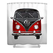 Volkswagen Type 2 - Red And Black Volkswagen T 1 Samba Bus On White  Shower Curtain by Serge Averbukh