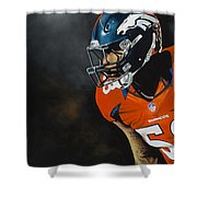 Von Miller Shower Curtain by Don Medina