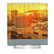 Waikiki City Sunset Shower Curtain