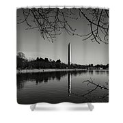 Washington Memorial Framed By Cherry Trees In The Winter Shower Curtain