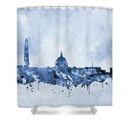 Washington Skyline-blue Shower Curtain