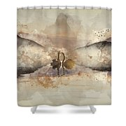 Watercolor Painting Of Beautiful Romantic Image Of Swans On Mist Shower Curtain