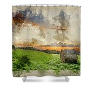 Watercolor Painting Of Beautiful Summer Vibrant Sunset Over Coun Shower Curtain