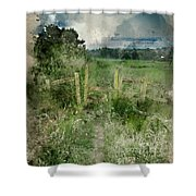 Watercolor Painting Of Beautiful Vibrant Summer Sunrise Over Eng Shower Curtain