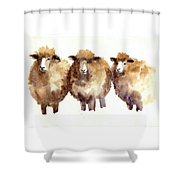 Watercolor Sheep Shower Curtain