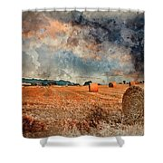 Watercolour Painting Of Beautiful Golden Hour Hay Bales Sunset L Shower Curtain