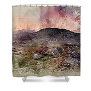 Watercolour Painting Of Stunning Summer Dawn Over Mountain Range Shower Curtain