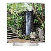 waterfall in tripcal garden Monte Madeira Shower Curtain