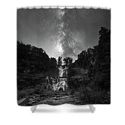 Waterfall Milky Way Shower Curtain