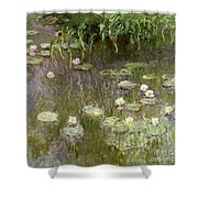 Waterlilies At Midday Shower Curtain by Claude Monet