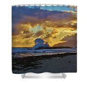 Waves At Sunrise Shower Curtain
