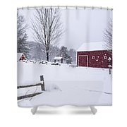Wayside Inn Grist Mill Covered In Snow Storm Shower Curtain