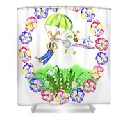 Welcome Spring. Rabbit And Flowers Shower Curtain