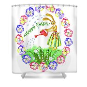 Welcome Spring.rabbit And Flowers Shower Curtain