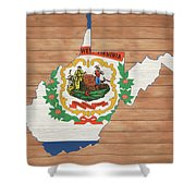 West Virginia Rustic Map On Wood Shower Curtain