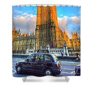 Westminster Bridge And Taxi Shower Curtain