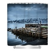Wharf In Norris Point, Newfoundland Shower Curtain