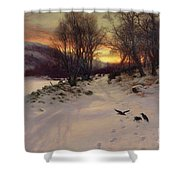 When The West With Evening Glows Shower Curtain by Joseph Farquharson