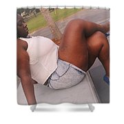 White And Jeans Shower Curtain