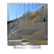 White Architecture In The City Of Oia In Santorini, Greece Shower Curtain