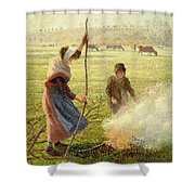 White Frost Shower Curtain by Camille Pissarro