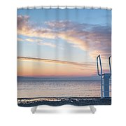 White Ladder Of A Diving Board At The Beach In Cres Shower Curtain