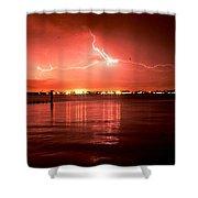 White Lightning Shower Curtain