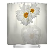 White On White Daisies Shower Curtain