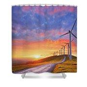 wind turbines in Oiz eolic park Shower Curtain