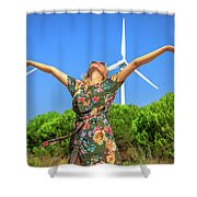 Wind Turbines Woman Shower Curtain