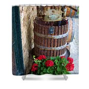 Wine And Geraniums Shower Curtain