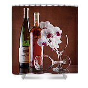 Wine And Orchids Still Life Shower Curtain
