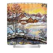 Winter Evening. Shower Curtain