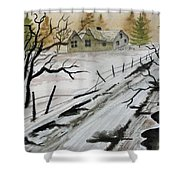 Winter Farmhouse Shower Curtain