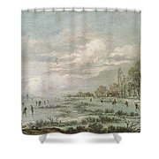 Winter Landscape Shower Curtain by Aert van der Neer